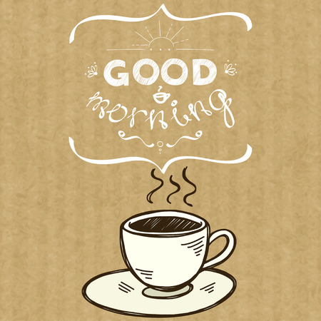 morning breakfast: Cartoon morning cup of coffee. Hand drawn doodle cup and hand written lettering Good Morning, isolated on brown kraft paper background. Illustration