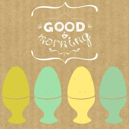 boiled eggs: Hand drawn silhouette of boiled eggs and hand drawn lettering Good Morning isolated on brown kraft paper background. Vintage style vector illustration.