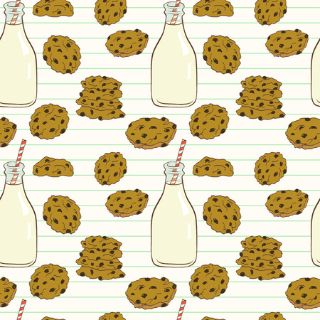 milk and cookies: Hand drawn seamless pattern with doodle cartoon chocolate chip cookies and bottle of milk on lined notepaper background.