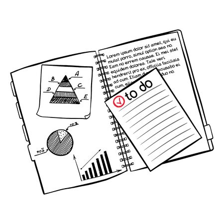 sticky note: Hand drawn notebook with sticky note paper and quick doodles sketched on them isolated on white background.
