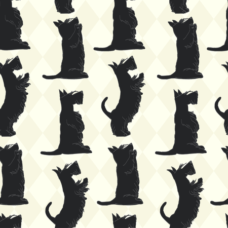 Cute seamless pattern with sketches of four cute Scottish terriers in different poses. Hand drawn cartoon dogs begging for a treat.