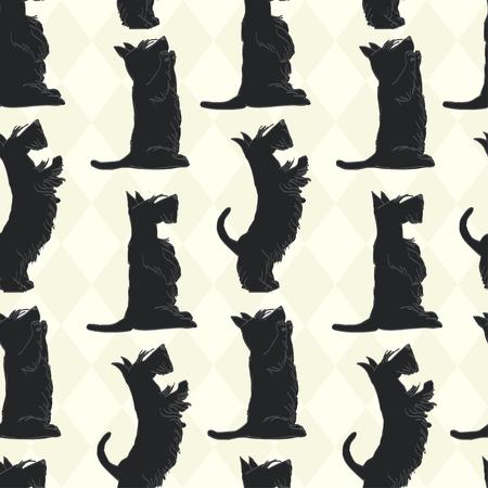 Modelo inconsútil lindo con bocetos de cuatro terriers escoceses lindos en diferentes poses. Dibujado a mano perros de la historieta pidiendo una delicia. Ilustración de vector