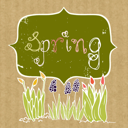growing flowers: Spring background with doodle growing flowers and frame on brown kraft paper backdrop. Illustration