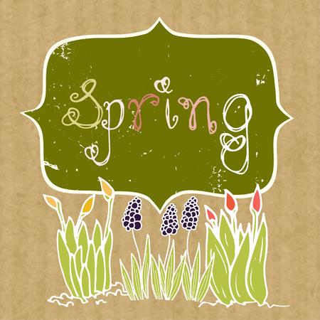 kraft: Spring background with doodle growing flowers and frame on brown kraft paper backdrop. Illustration