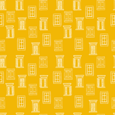 tiling background: Seamless pattern made of hand drawn sketchy italian windows on white background. Architectural tiling background.