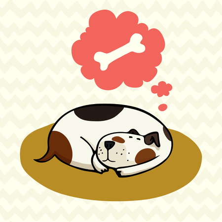 spotted dog: Cute cartoon dog, sleeping on the mat and dreaming about bone. Hand drawn doodle spotted dog isolated on doodle chevron background.