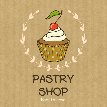 kraft paper: Cartoon cupcake with cherry on top. Hand drawn doodle muffin in floral frame isolated on brown kraft paper background. Illustration