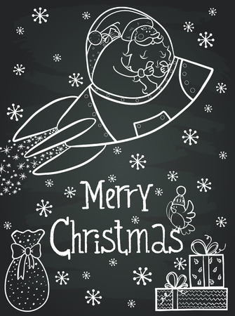Invitation or greeting card template with hand drawn funny cartoon Santa, presents and hand drawn lettering. Cute winter poster on chalkboard background. Stock Illustratie