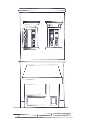 second floor: Hand drawn sketchy house with shop on the ground floor and two windows with shutters on the second floor.