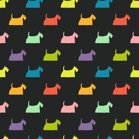scottie: Seamless pattern with colorful dog silhouettes on black background. Scottish terrier. Animal tiling background. Illustration