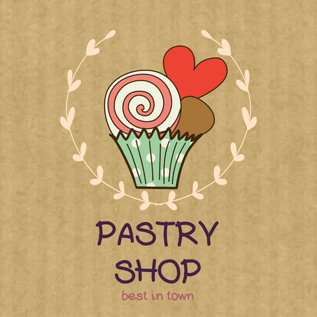 Cartoon cupcake with lollipop and heart. Hand drawn doodle muffin in floral frame isolated on brown kraft paper background.