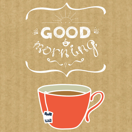 kraft: Cartoon morning cup of tea. Hand drawn doodle cup and hand written lettering Good Morning, isolated on brown kraft paper background. Illustration