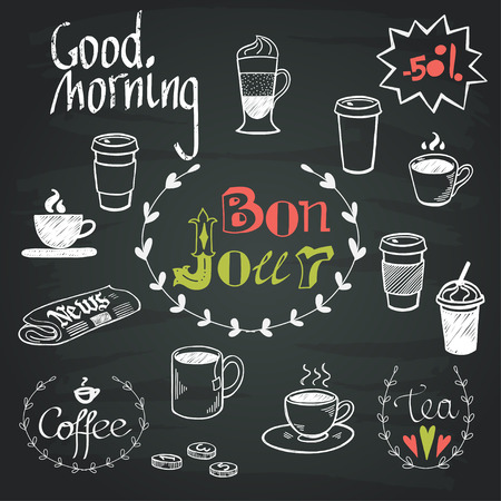 tea set: Set of hand drawn doodle coffee break doodles and Good Morning lettering isolated on chalkboard background. Morning newspaper and cup of coffee.