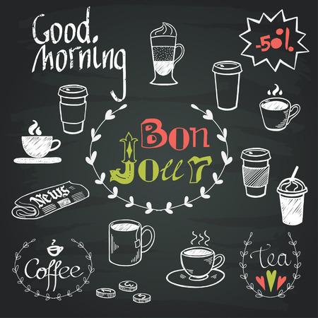 Set van hand getrokken doodle koffiepauze doodles en Good Morning letters geïsoleerd op een schoolbord achtergrond. Ochtendkrant en een kopje koffie.