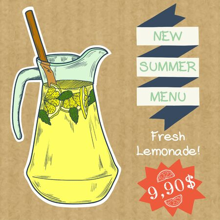 kraft paper: Doodle hand drawn jug of fresh home made lemonade isolated on brown kraft paper background. Cover, brochure or advertising template for restaurant or cafe menu.