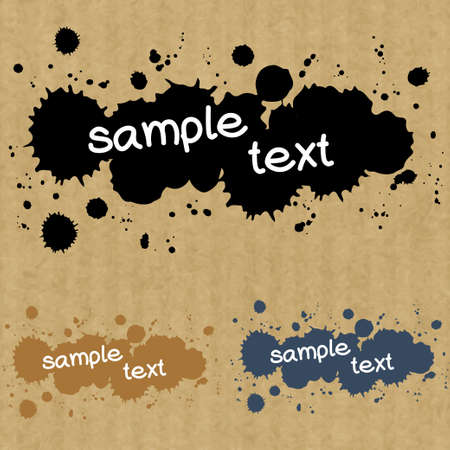 kraft paper: Set of abstract text box made of ink drops, isolated on brown kraft paper background.