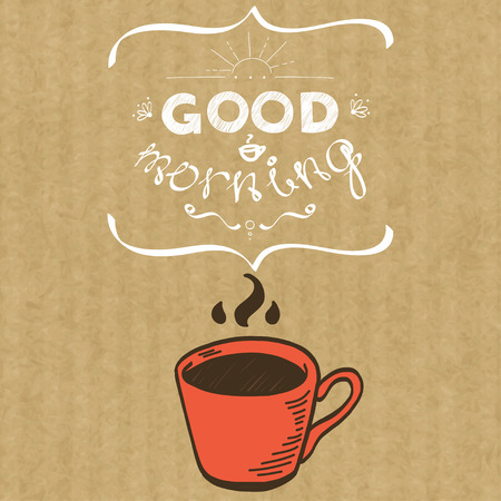 good break: Cartoon morning cup of coffee. Hand drawn doodle cup and hand written lettering Good Morning, isolated on brown kraft paper background. Illustration