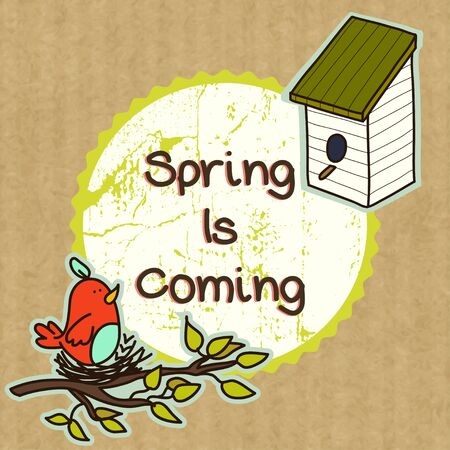 kraft: Spring illustration with birdhouse and cute doodle bird sitting on the nest, isolated on kraft paper background. Illustration