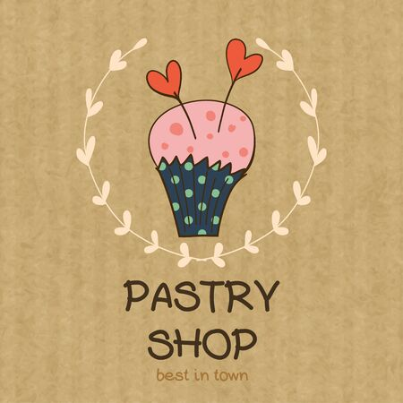 kraft paper: Cartoon cupcake with two hearts. Hand drawn doodle muffin in floral frame isolated on brown kraft paper background.