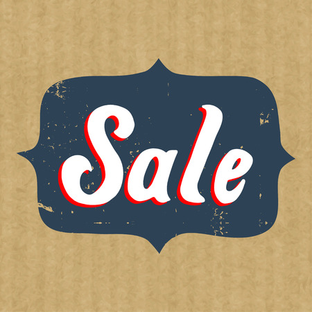 kraft: Sticker or badge for sale with hand drawn lettering isolated on brown kraft paper background.