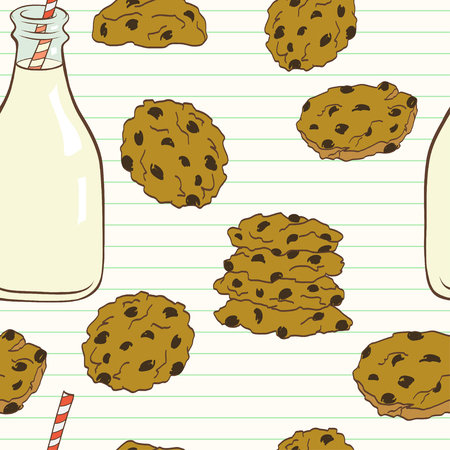 chocolate chip: Hand drawn seamless pattern with doodle cartoon chocolate chip cookies and bottle of milk on lined notepaper background.
