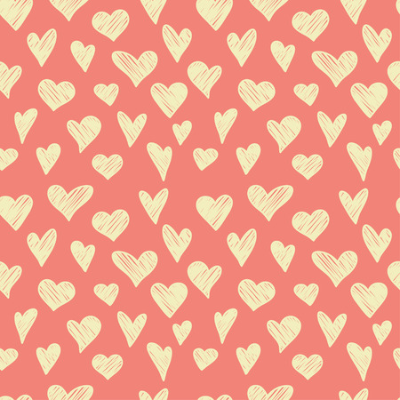tiling: Seamless pattern with hand drawn doodle hearts. Romantic tiling background.