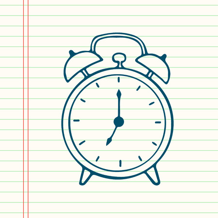 clock work: Hand drawn cartoon alarm clock, isolated on lined paper background.