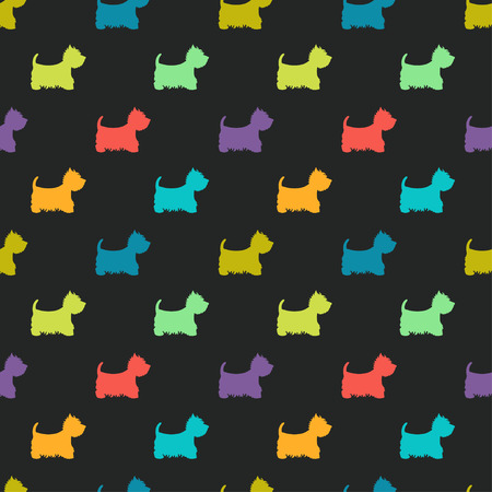 Seamless pattern with colorful dog silhouettes on black background. West highland white terrier. Animal tiling background. Vettoriali