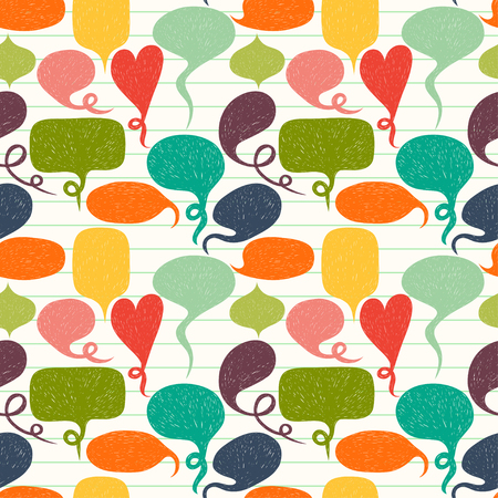 Seamless pattern made of hand drawn speech bubbles on lined notepaper background. Tiling background with colorful doodle cartoon comic bubbles. Stock Illustratie