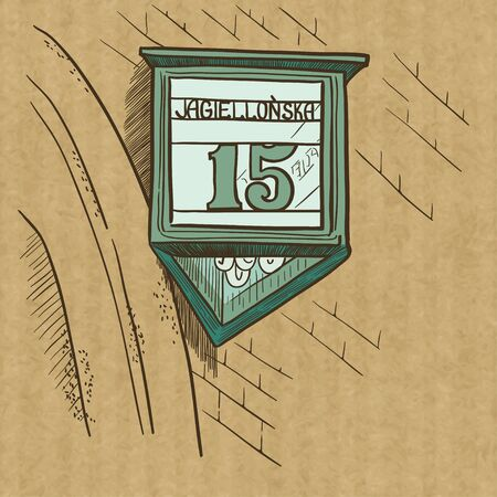 krakow: Street sign and the number of a house on a brick wall. Hand drawn sketch, isolated on kraft paper background. Jagiellonska street in Krakow, Poland.