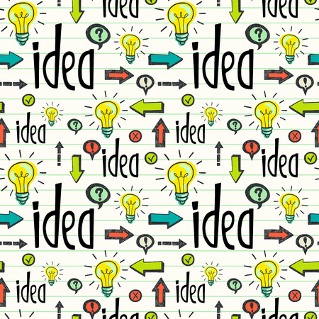 tiling background: Seamless pattern with idea concept. Hand drawn tiling background with doodle light bulb, lettering, arrows and other symbols.