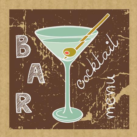 kraft: Doodle martini glass on brown kraft paper background. Vector image for restaurant or bar cocktail list.