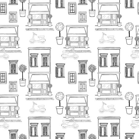 house sketch: Hand drawn seamless pattern with sketchy shop on the ground floor, potted trees, different windows with shutters and old school scooter on the street. Cartoon city tiling background.