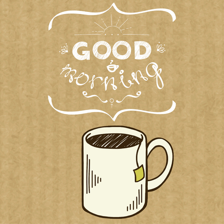 kraft: Cartoon morning cup of tea. Hand drawn doodle mug and hand written lettering Good Morning, isolated on brown kraft paper background.