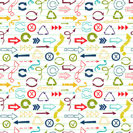 doodled: Seamless pattern with colorful check marks and check boxes drawn in a doodled style on lined paper background.