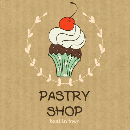 kraft: Cartoon cupcake with cherry on top. Hand drawn doodle muffin in floral frame isolated on brown kraft paper background. Illustration