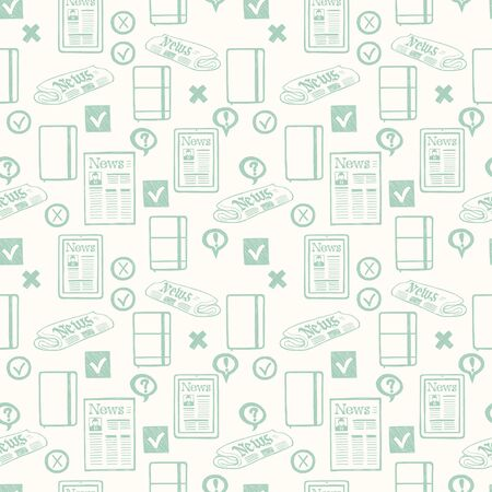 tiling: Seamless pattern with hand drawn press and media symbols. Tiling background with doodle journalism icons. Illustration