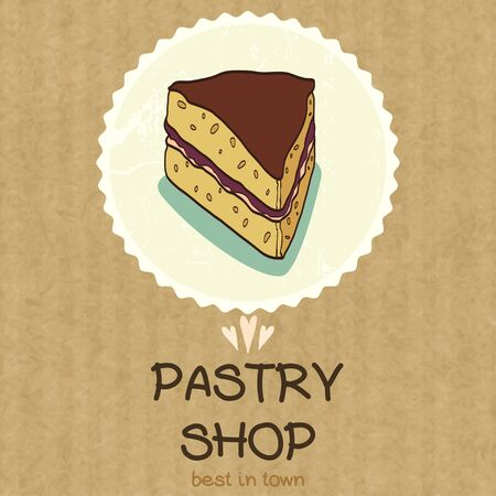 kraft: Hand drawn doodle piece of cake in a badge with place for a text, isolated on kraft paper background.