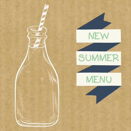 茶色のクラフト ペーパー背景に分離、ストライプ ストローとリボン バナーとミルクのボトルをスケッチ。  イラスト・ベクター素材