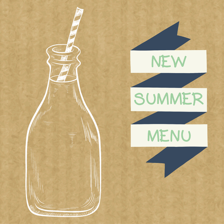 drinking straw: Sketched bottle of milk with a striped straw and ribbon banner, isolated on brown kraft paper background. Illustration