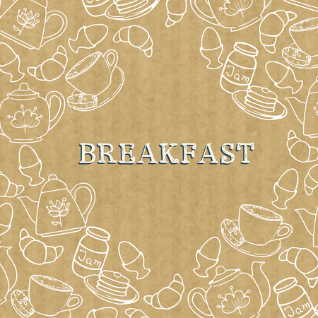kraft: Breakfast border with doodle coffee cup, croissant, boiled egg, tea pots, jam and pancakes. Frame with hand drawn morning food elements on brown kraft paper background.