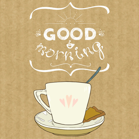 good break: Cartoon morning cup of coffee. Hand drawn cup and hand written lettering Good Morning, isolated on brown kraft paper background.