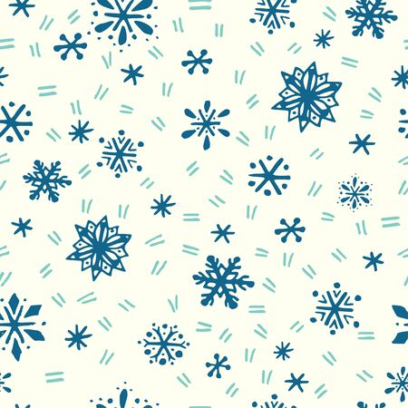 seamless: Winter seamless pattern with hand drawn snowflakes and icy scratches. Illustration