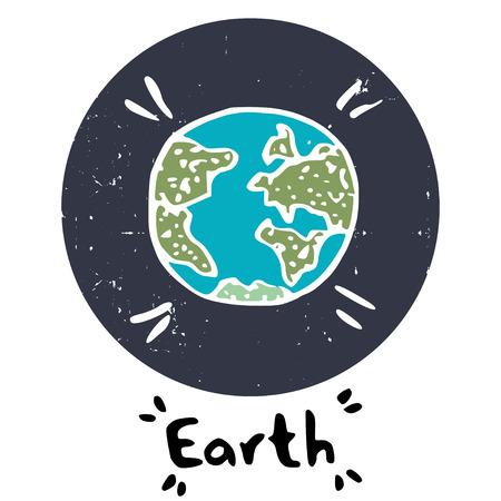 sistema: Mano planeta doodle, aislado en el c�rculo de color p�rpura con textura sobre fondo blanco. Infantil icono de espacio y mano escriben las letras de la Tierra. Vectores