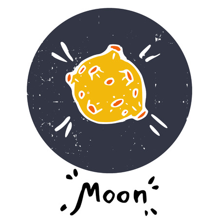 kid drawing: Hand drawn doodle moon, isolated in textured purple circle on white background. Childish space icon and hand written lettering.