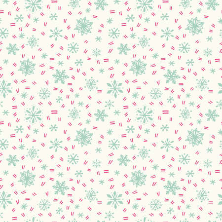 icy: Winter seamless pattern with hand drawn snowflakes and icy scratches on milky-white background.