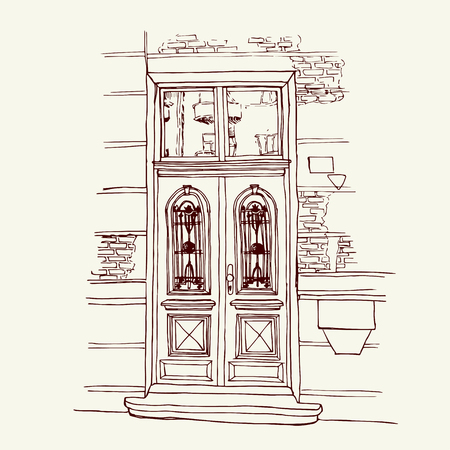 eastern europe: Vector illustration of the front door in old city center drawn in sketch style. Front porch in Belgrade, Serbia, Eastern Europe. Illustration