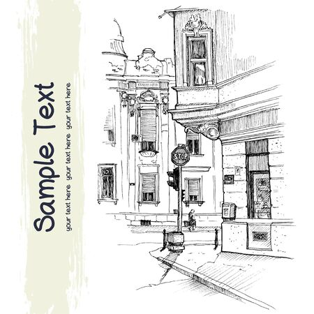 street life: Vector illustration of the beautiful buildings on the corner in old historical city center drawn in a sketch style and isolated on white background. Belgrade, Serbia.