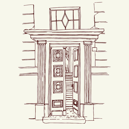 european culture: Vector illustration of the front door in old city center drawn in sketch style. Front porch in Belgrade, Serbia, Eastern Europe. Illustration