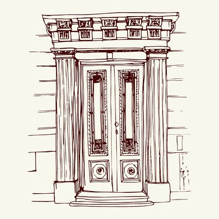 city center: Vector illustration of the front door in old city center drawn in sketch style. Front porch in Belgrade, Serbia, Eastern Europe. Illustration